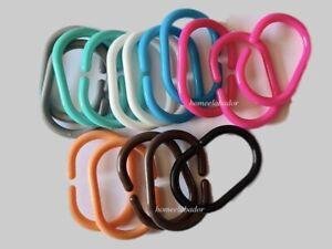 12 Shower Curtains Hooks Bathroom Plastic Strong Rail Guide Hanger Loop C-Rings