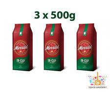 3x MERRILD IN-CUP Denmark Finely Ground Coffee Medium Roast Arabica 500g 17.6oz