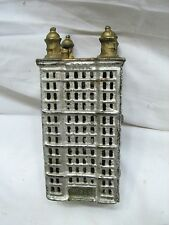 Cast Iron Office Building Dime Still Sky Scraper Bank Toy Penny Coin Tower A