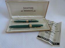 Sheaffer's Snorklel Fountain Pen Pencil Set In Box Green 14k Nib White Dot