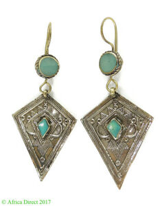 Earrings Silver Turquoise Insets Afghanistan SALE WAS $22.00