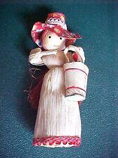Vintage Miniature Corn Husk Girl with Basket of Holly Christmas Figurine