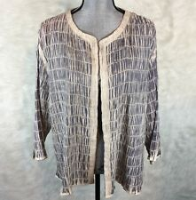 CHICOS Size 3 Jacket Lightweight Sweater Shrug Open Front Ruched Career XL 1X 2X
