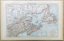 Original 1898 Map of Eastern Canada by Velhagen & Klasing
