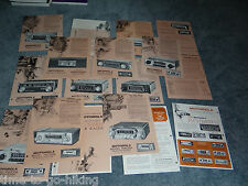 COLLECTION OF 17 1960'S MOTOROLA AUTOMOBILE CAR AM FM 8 TRACK BROCHURES FLYERS