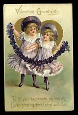 Greetings Valentines children floral missives Tuck 11 embossed PPC used 1909