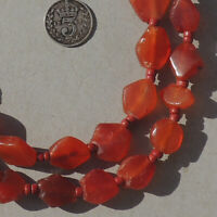strand ancient diamond shaped carnelian agate african stone beads mali #4115
