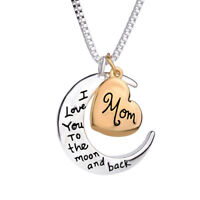 Heart & Moon Pendant Necklace I Love You Mom Jewelry Mother's Day Wonderful Gift