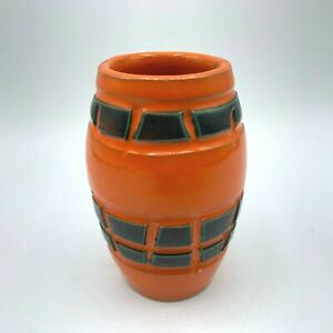 Vintage Small Italian Pottery Bud Vase Orange with Green Accents Made in Italy
