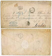 URUGUAY 1894 DIPLOMATIC SEAL REGISTERED LARGE ENV. AR BOXED to GB STAMPS REMOVED