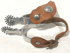 Vintage Crockett Renalde (Cr) Engraved Western Cowboy Boot Spurs 16 Point Rowels