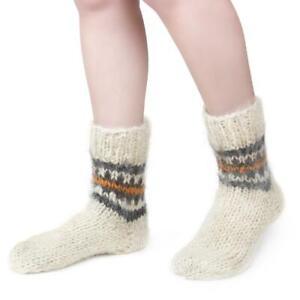 Women's 100% Sheepskin Sheep Wool Socks Soft Fuzzy Warming Knitted Handmade New