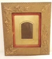 19C AESTHETIC MOVEMENT Victorian Sand-finished GOLD Flowers Leaves Frame 15 x 17