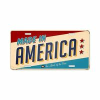 Made in America License Plate TIN ART Vintage