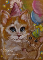 ACEO Cat & Mouse Animal Kitten Pet Kitty Artwork Pastel Painting  Art Card