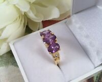 Antique Jewellery Gold Ring with Amethysts White Sapphires Vintage Deco Jewelry
