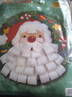 Bucilla Christmas Felt Applique Holiday Kit,BEARDED SANTA WREATH,Wall Door,84089
