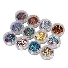 HOT 12 PCS Nail Art Tips Stickers Acrylic 3D Glitter Sequins Manicure DIY Decals