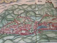 Salins-les-Bains France 1628 Munster old view birds-eye city view hand color