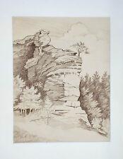 Drawing, brown pencil on paper, Ruine of Blumenstein, J. Weinmann, ca. 1907-1910