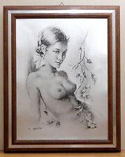 (PRL) QUADRO NUDO DONNA C. PARISI ANNI '70 LITOGRAFIA VINTAGE ARTE ART PRINT