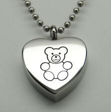 TEDDY BEAR CREMATION JEWELRY TEDDY BEAR URN NECKLACE URN MEMORIAL KEEPSAKE BABY