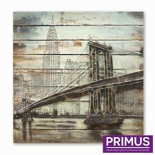 Primus Brooklyn Bridge 3D Hand Crafted Metal Wall Art on Timber Back - STUNNING!