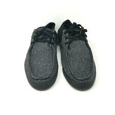 SANUK Men's Lace Up Boat Wool Chevron Pattern Shoes Black Color Size: 11 US