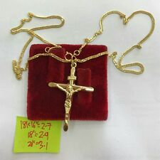 Gold Authentic 18k saudi gold cross necklace 16 inches chain,,