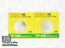 2 Pieces GP LR54 AG10  V10GA L1131 189 389A D189 Alkaline Button Cell Battery
