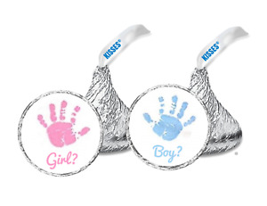 """108 Gender reveal, Baby shower hershey kiss labels stickers .75"""" round"""