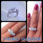 2.8 Ct 3 Stones Created Diamond Engagement Ring in Real 925 Sterling Silver