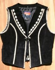RARE Beaded Leather Vest Turquoise, Silver & Conch Western Tribal Cripple Creek