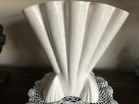 Vintage Brush McCoy #721 Large Fan Shaped Art Deco Vase WHITE GLAZE Speckled 12""