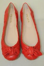 New PRADA Flats Red SOFTEEST Leather Ballet Flats Antic Soft Lacca Bow Shoes 38