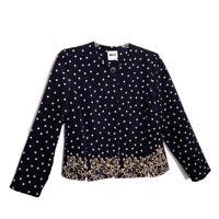 Vintage Leslie Fay Plus Size 16P Button Front Polka Dot Blazer Jacket