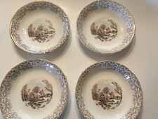 4 BOWLS  Currier & Ives Royal Monach First Quality China 22kt GOLD trim