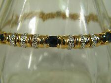 BRACELET:  DESIGNER TOP BLACK SAPPHIRE DIAMOND CHIPS 2-TONE 925 STERLING SILVER