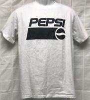 PEPSI Cola Men's White T-Shirt w/ Black Logo Size L
