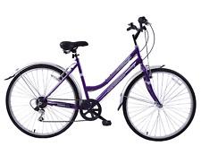 "Metropolitan 700c Wheel Womens Hybrid Bike 6 Speed 19"" Frame Purple & Mudguards"