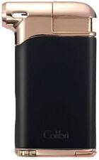 Black & Rose Gold Colibri Pacific Air Angled Soft Flame Pipe Lighter - 9109