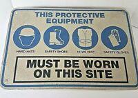 "Vintage PROTECTIVE EQUIPMENT Original Metal Street Sign 18"" x 12"""