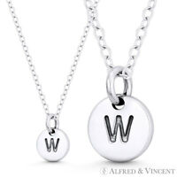 """Pendant Initial Letter /""""L/"""" 11mmx8mm Tiny Round Disc .925 Sterling Silver Charm"""