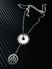 Silver Gear Lariat Pendant Necklace Steampunk--Stainless Steel Flat Cable Chain