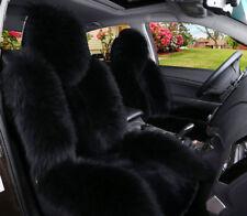 100% Real Black Sheepskin Long Wool Car Seat Cover (Universal Fit) Pair US stock