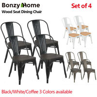 Set Of 4 Vintage Metal Dining Side Chairs Stackable Wood Seat for Bistro Cafe