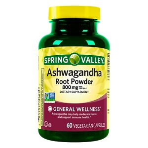 Spring Valley Ashwagandha Root Powder Vegetarian Capsules, 800 mg, 60 Count