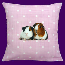 "CUSHION (pad included) CUTE GUINEA PIGS ON PINK WITH WHITE POLKA DOT 12"" PILLOW"