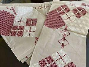 Sweetish Lovely Hearts Korssygnshjarta Print Linen Duvet Pillow Case Set Sweden*