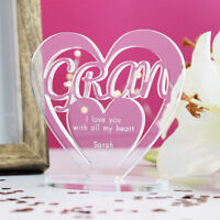 Personalised Heart with Message Ornament Keepsake Birthday Gran Mothers Day Gift